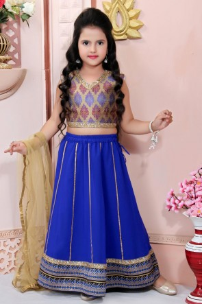 Embroidered Blue Faux Georgette Designer Lehenga Choli With Net Dupatta