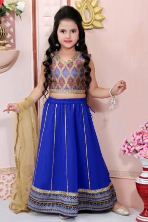 Embroidered Blue Faux Georgette Designer Lehenga Choli With Net Dupatta