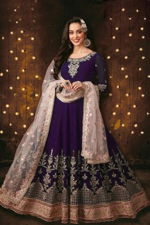 Foux Georgette Purple Embroidered And Stone Work Designer Anarkali Suit With Net Dupatta