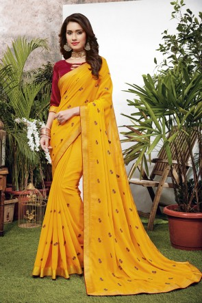 Yellow Georgette Satin Fabric Embroidered Designer Saree And Blouse