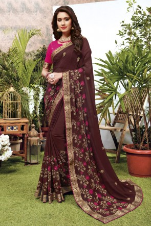 Georgette Satin Fabric Embroidered Designer Brown Lovely Saree And Blouse
