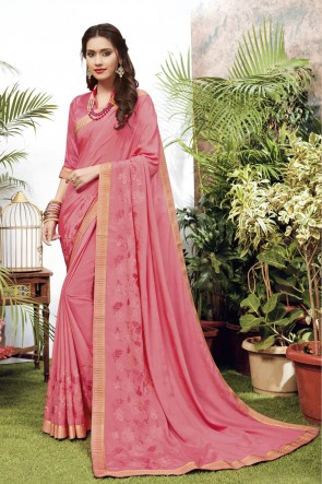Pink Georgette Satin Fabric Embroidered Designer Saree And Blouse