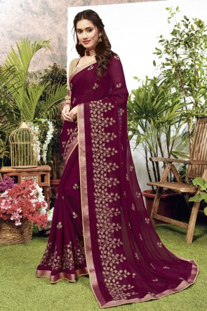 Georgette Satin Fabric Violet Embroidered Designer Saree And Blouse