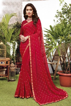 Embroidered Red Georgette Satin Fabric Saree And Blouse