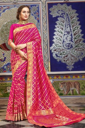 Stunning Pink Silk Fabric Weaving Work Saree And Blouse
