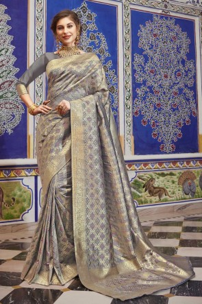 Silk Fabric Weaving Work Grey Lovely Saree And Blouse