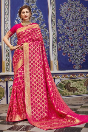 Silk Fabric Pink Weaving Work Saree And Blouse