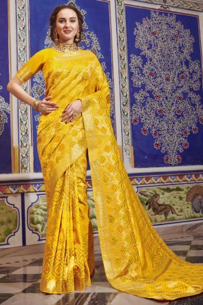 Weaving Work Designer Yellow Silk Fabric Saree And Blouse