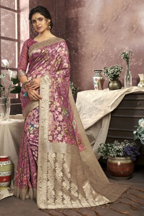 Digital Print Pink Cotton Fabric Saree And Blouse