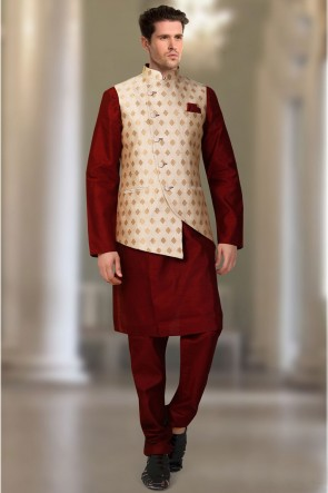 Maroon And Cream Silk Fabric Indo Western With Brocade Fabric Jacket