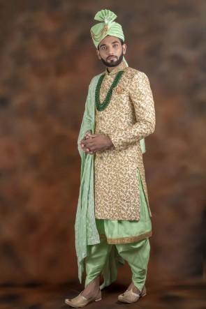 Ultimate Light Green And Cream Jacquard Fabric Sherwani