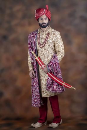 Supreme Cream Jacquard Fabric Sherwani