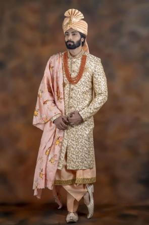Admirable Cream Jacquard Fabric Sherwani
