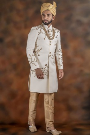 Excellent Off White Jacquard Fabric Sherwani