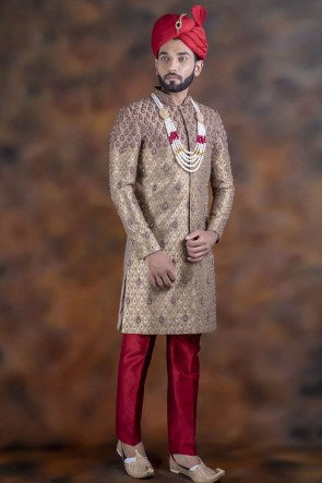 Lovely Beige Jacquard Fabric Sherwani
