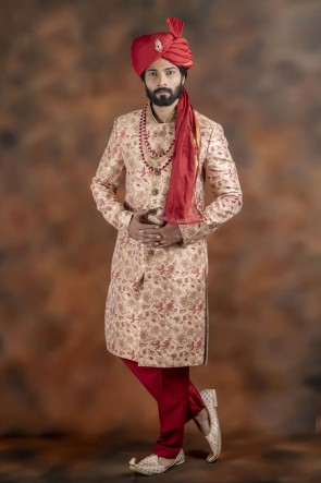 Stylish Cream Jacquard Fabric Sherwani