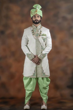 Graceful Off White Jacquard Fabric Sherwani