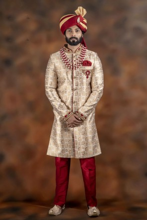 Gorgeous Golden Jacquard Fabric Sherwani