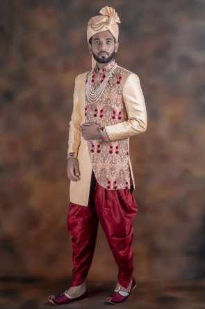 Charming Peach Jacquard Fabric Sherwani