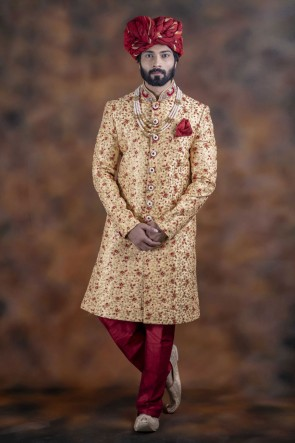 Desirable Golden Jacquard Fabric Sherwani