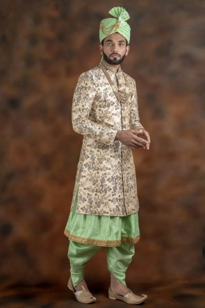 Pretty Cream And Pista Jacquard Fabric Sherwani