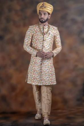 Ultimate Off White Jacquard Fabric Sherwani
