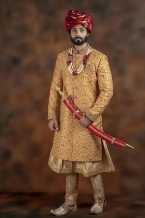 Optimum Yellow Jacquard Fabric Sherwani