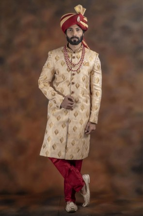 Admirable Golden Jacquard Fabric Sherwani