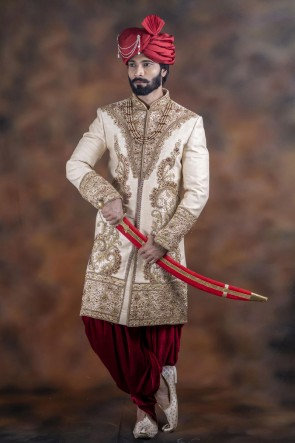 Beautiful Off White Jacquard Fabric Sherwani