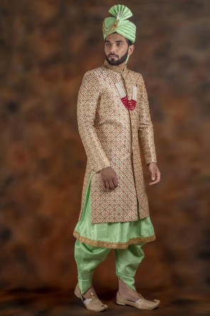Excellent Light Green Jacquard Fabric Sherwani