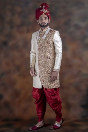 Lovely Off White Jacquard Fabric Sherwani