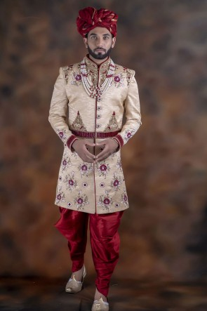 Gorgeous Cream Jacquard Fabric Sherwani