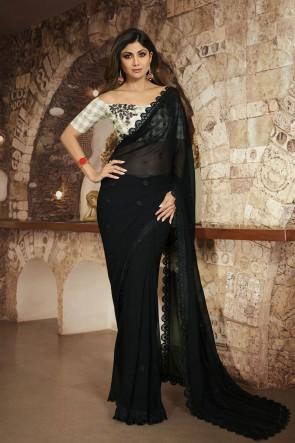 Shilpa Shetty Black Silk Fabric Border Work Designer Saree And Blouse