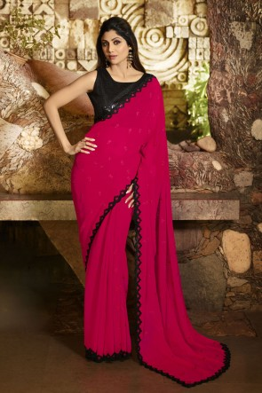 Shilpa Shetty Silk Fabric Border Work Designer Red Lovely Saree And Blouse