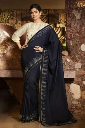 Shilpa Shetty Navy Blue Silk Fabric Border Work Designer Saree And Blouse