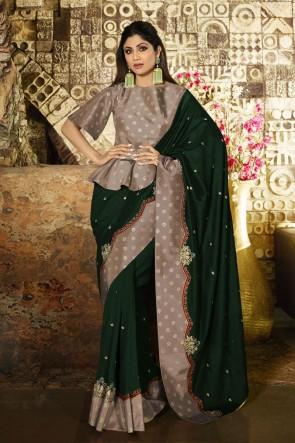 Shilpa Shetty Optimum Border Work Green Silk Fabric Designer Saree And Blouse