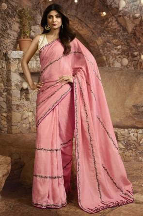 Shilpa Shetty Silk Fabric Peach Border Work Designer Saree And Blouse