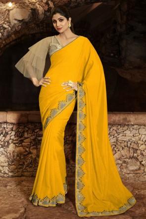 Shilpa Shetty Border Work Yellow Silk Fabric Saree And Blouse