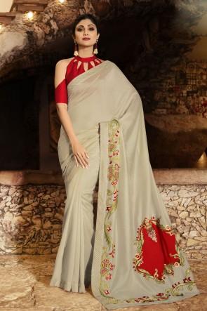 Shilpa Shetty Border Work Grey Silk Fabric Saree And Blouse