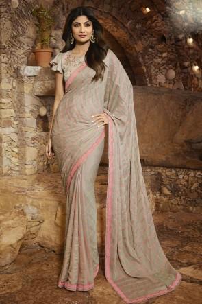 Shilpa Shetty Grey Silk Fabric Border Work Designer Saree And Blouse