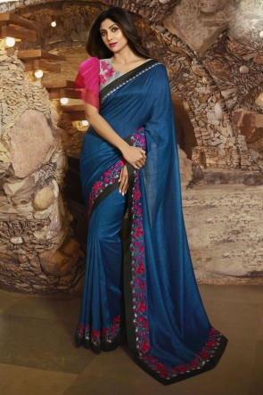 Shilpa Shetty Stunning Royal Blue Silk Fabric Designer Border Work Saree And Blouse