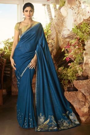 Shilpa Shetty Blue Silk Fabric Border Work Designer Saree And Blouse