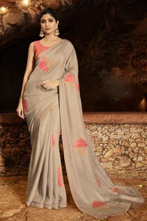 Shilpa Shetty Silk Fabric Grey Border Work Designer Saree And Blouse