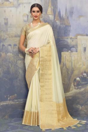 Weaving Work And Jacquard Work Cream Silk Fabric Saree And Blouse