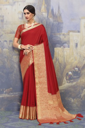Red Silk Fabric Weaving Work And Jacquard Work Designer Saree And Blouse