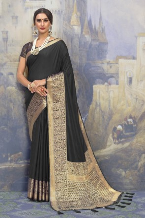 Stunning Black Silk Fabric Designer Weaving Work And Jacquard Work Saree And Blouse