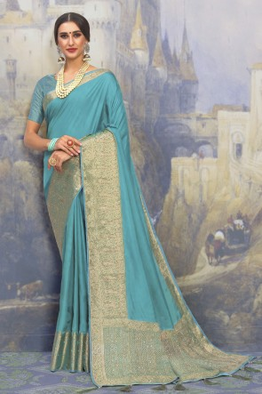 Silk Fabric Weaving Work And Jacquard Work Designer Aqua Lovely Saree And Blouse