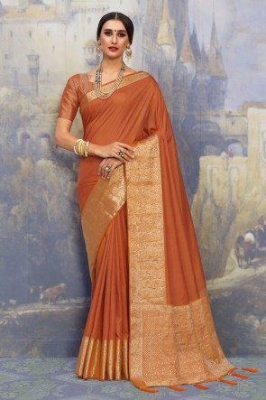 Mustard Silk Fabric Weaving Work And Jacquard Work Designer Saree And Blouse