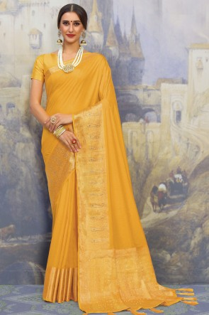 Silk Fabric Yellow Weaving Work And Jacquard Work Designer Saree And Blouse
