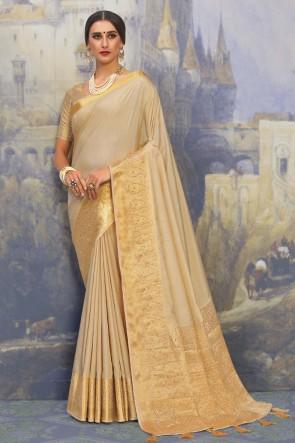 Optimum Weaving Work And Jacquard Work Cream Silk Fabric Designer Saree And Blouse
